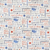 "Stonehenge Stars and Stripes VIII - Inspirational Words Beige Multi 108"" Wide Backing"