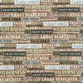 Lakeside Lodge - Words Brown Multi Flannel Yardage