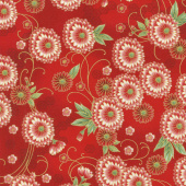 Imperial Collection 15 - Spring Flowers Red Metallic Yardage
