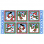 Frosty Friends - Snowman Blue Digitally Printed Panel