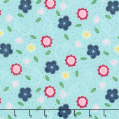 Flutter and Shine - Small Flower Aqua Yardage