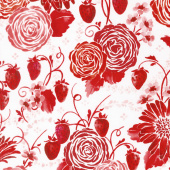 Sugar Berry - Picnic in the Park Radiant Cherry with Red Glitter Yardage