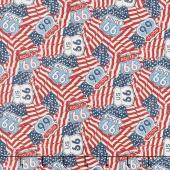 Route 66 - American Flags Cream Multi Yardage