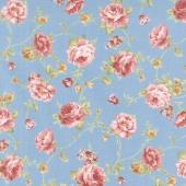 Zellie Ann - Else's Flowers Teal Yardage