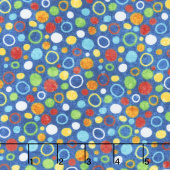 Undersea - Stonehenge Kids 3D Multicolor Bubbles Blue Yardage