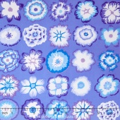 Kaffe Collective - Cool 2016 Button Flowers Blue Yardage