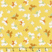 Storybook Sleepytime - Sleepy Dogs Yellow Yardage