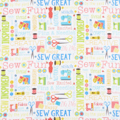 Sew Excited - Sew Wordy White Yardage