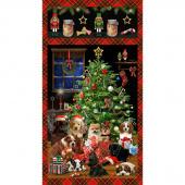 Fireside Pups - Pups and Christmas Tree Panel