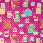 Kitchen Love - Tea and Coffee Dark Pink Yardage