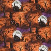 Frightful Night - Scenic Orange Yardage