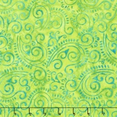 In the Limelight Batiks - Scroll Lime Green Yardage