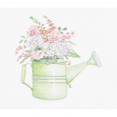 Susan Branch Green Watering Can Garden Flowers Digitally Printed Panel