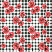 Ooh La La! - Mini Poppies on Gingham White Yardage