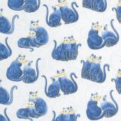 Cat-i-tude 2 - Mini Scroll Cats Multi Blue Metallic Yardage