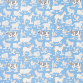 On the Farm - Animal Farm Blue Yardage