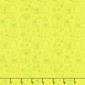Beary Happy - Celebrating 50 Colorful Years with Brown Bear! Bear Doodle Green Yardage