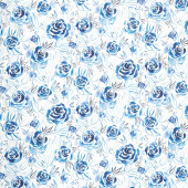 Moody Bloom - Rosette Indigo Digitally Printed Yardage