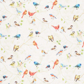 Novelty - Painted Birds in Birch Tree Taupe Digitally Printed Yardage