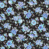 Regency - Majestic Flowers Black Metallic Yardage