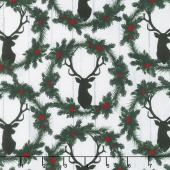 Christmas Cabin - Deer Heads and Wreaths Yardage