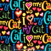 Cats - I Love My Cat Black Yardage