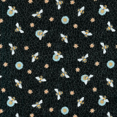 Bee Kind - Large Bee Toss Black Multi Yardage