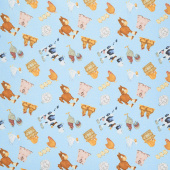 Comfy Flannel® - Tossed Barn Animals Blue Yardage