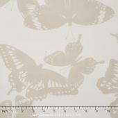 Black & White Collection - Ash Fishnet Butterflies Yardage