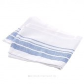 Tea Towel - Stripe Border White/Blue
