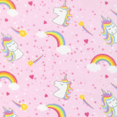 Emelia's Dream - Unicorns & Rainbows Pink Yardage
