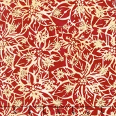 Artisan Batiks - Northwoods 6 Poinsettias Cranberry Metallic Yardage
