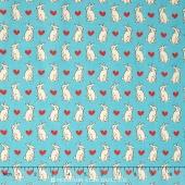 Radiant Girl - Bunnies & Hearts Teal Yardage