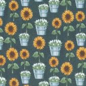 Sunflower Market - Sunflowers Chalkboard Yardage