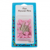 "100 Flat Flower Pins - Pink 1 7/8"" Long"