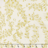 Novelty - Music Notes Cream Yardage