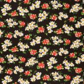 It's Elementary - Garden Blooms Black Yardage
