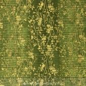 Shiny Objects - Jewels Velvety Vines Pepper Grass Metallic Yardage