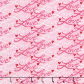 Love Grows - Love Script Passion Pink Yardage
