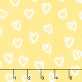 Penned Pals Flannel - Yellow Colorstory Hearts Yellow Yardage
