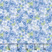 Amorette - Packed Floral Blue Yardage