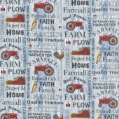 Farmall - Hometown Life Words Blue Yardage