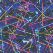 Galaxy Blast - Shooting Stars Black Digitally Printed Yardage