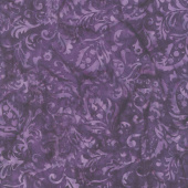 Fairy Slipper Batiks - Paisley Floral Purple Yardage