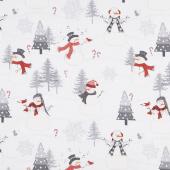 Snowy Wishes - Scenic Light Gray Yardage