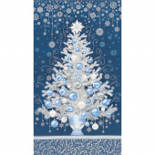 Holiday Flourish 13 - Blue Tree Navy Metallic Panel