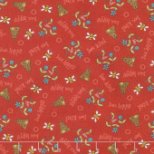 All About the Bees - Bee Scatter Red Yardage
