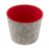 Felt Round Storage Bucket - Red