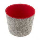 Felt Round Storage Bucket - Red