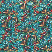 Butterfly Vortex - Packed Butterflies Blue Yardage